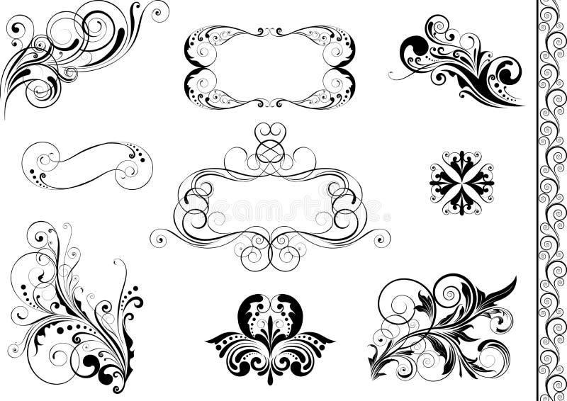 套漩涡花卉元素和框架 向量例证