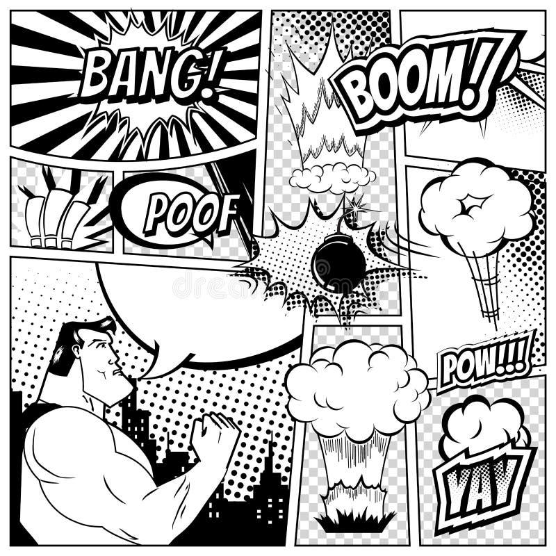 套漫画讲话和爆炸在书页背景起泡 特级英雄,火箭,城市剪影烟花 向量例证