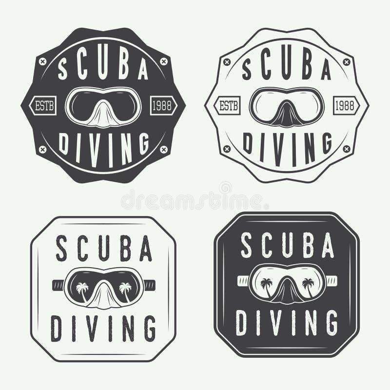 套潜水商标、标签和口号在葡萄酒样式 向量例证