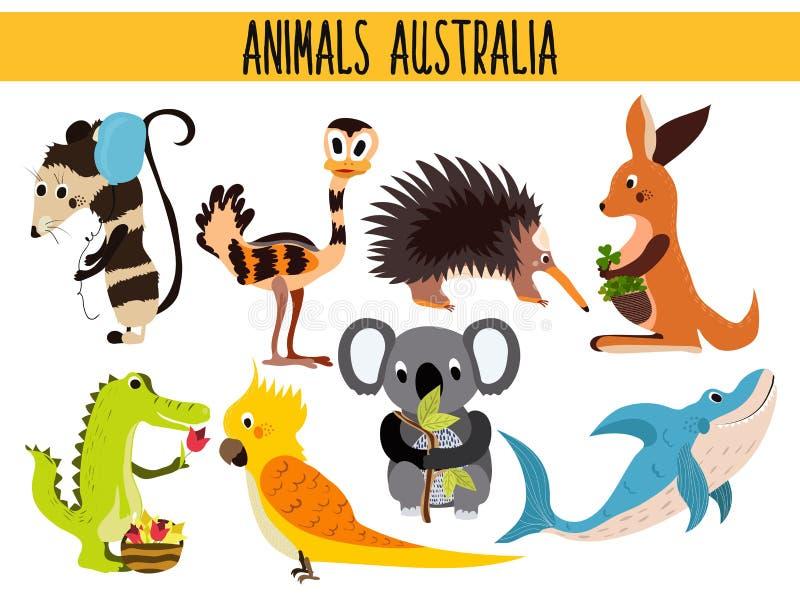 套澳大利亚和它的ostrovov逗人喜爱的动画片动物和鸟  袋鼠,负鼠, numbat,树袋熊, EMU,鹦鹉, alliga 向量例证