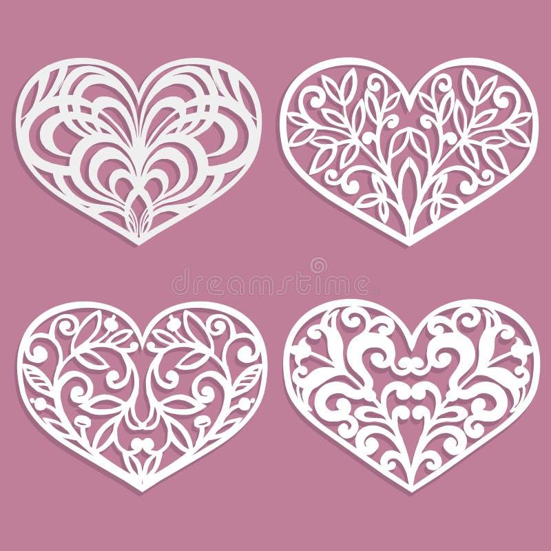 套激光裁减心脏 室内设计的模板,布局喜帖,邀请 花卉重点向量 皇族释放例证