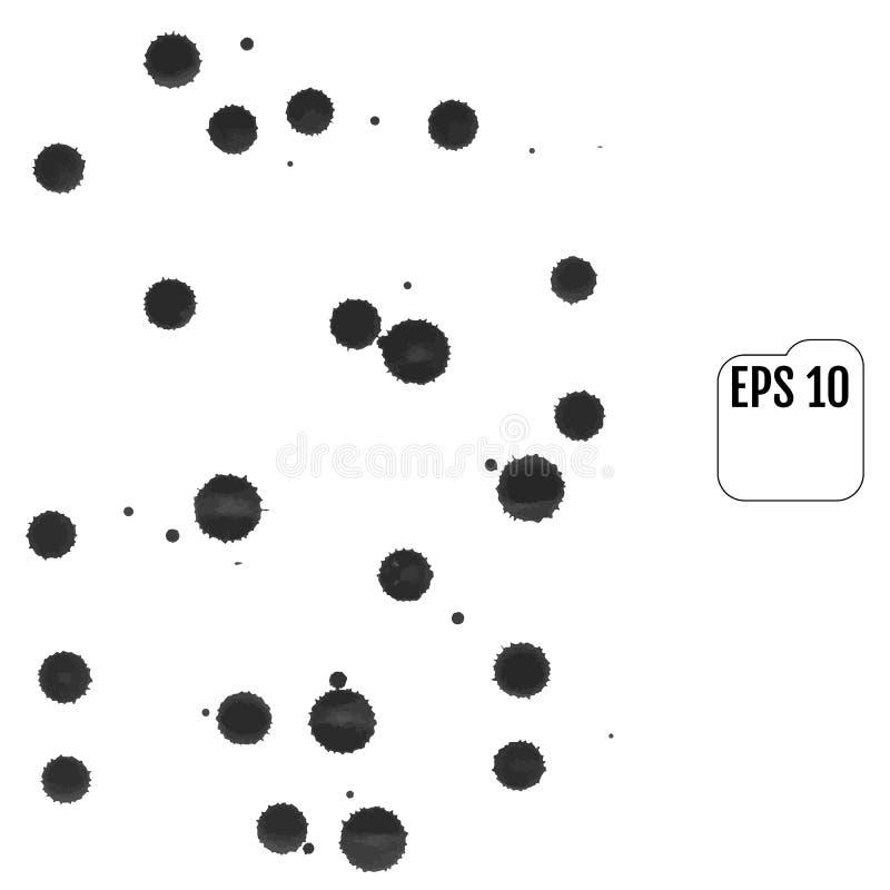 套灰色在白色背景弄脏 墨水污点 库存例证