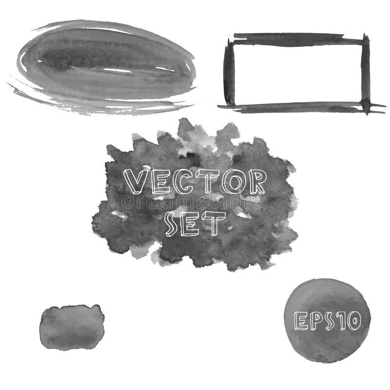 套灰色水彩手画形状难看的东西树荫  向量例证EPS10 库存例证