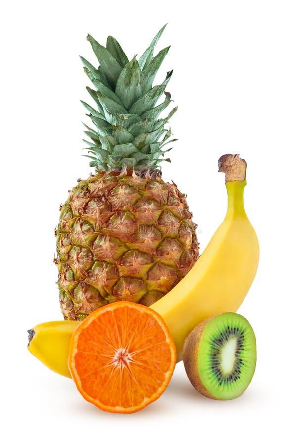 套热带水果 菠萝,香蕉,普通话,猕猴桃 免版税库存照片