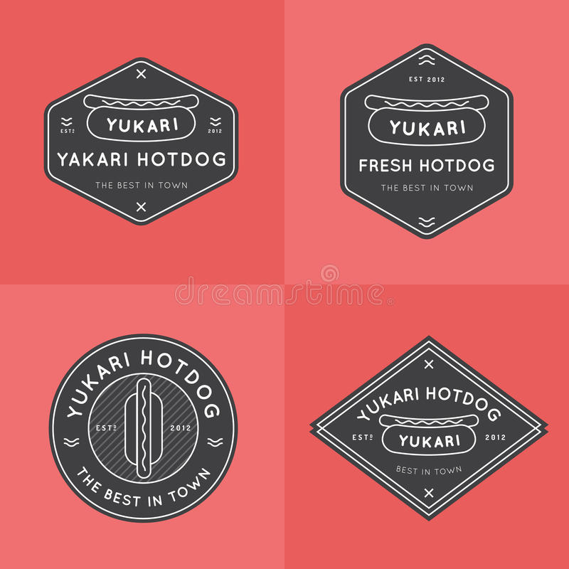 套热狗徽章、横幅、象征和商标模板餐馆的 概述设计 最小的设计 快餐商标设计 库存例证
