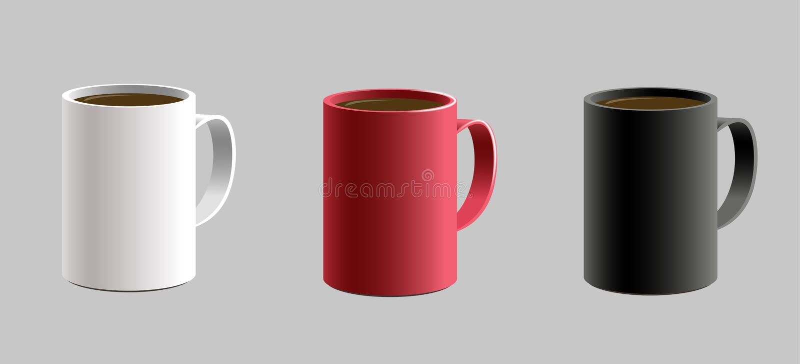 套热的饮料caffe的各种各样的形状的杯子杯子 与阴影的详细的现实3d 黑红色白色颜色 皇族释放例证