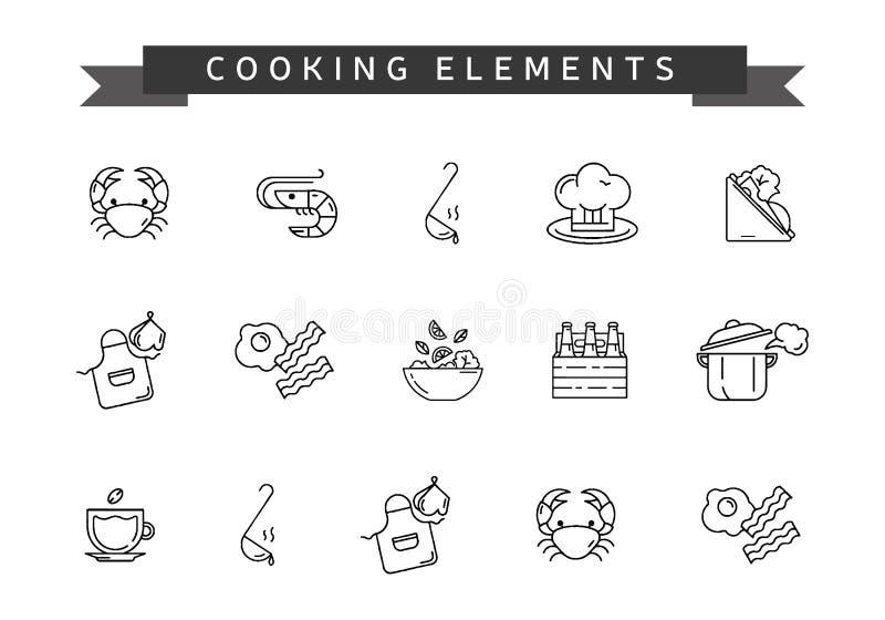 套烹调元素 线烹调的象 库存图片