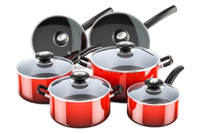 套烹调红色厨房器物和炊具 罐和平底锅, 皇族释放例证
