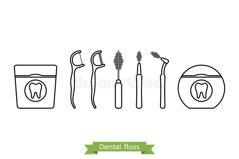 套牙线类型-动画片传染媒介概述样式 库存例证
