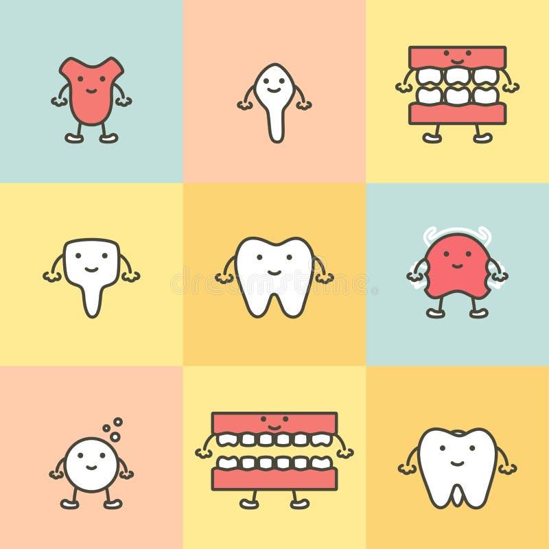 套牙齿保护,牙概念的元素 库存例证