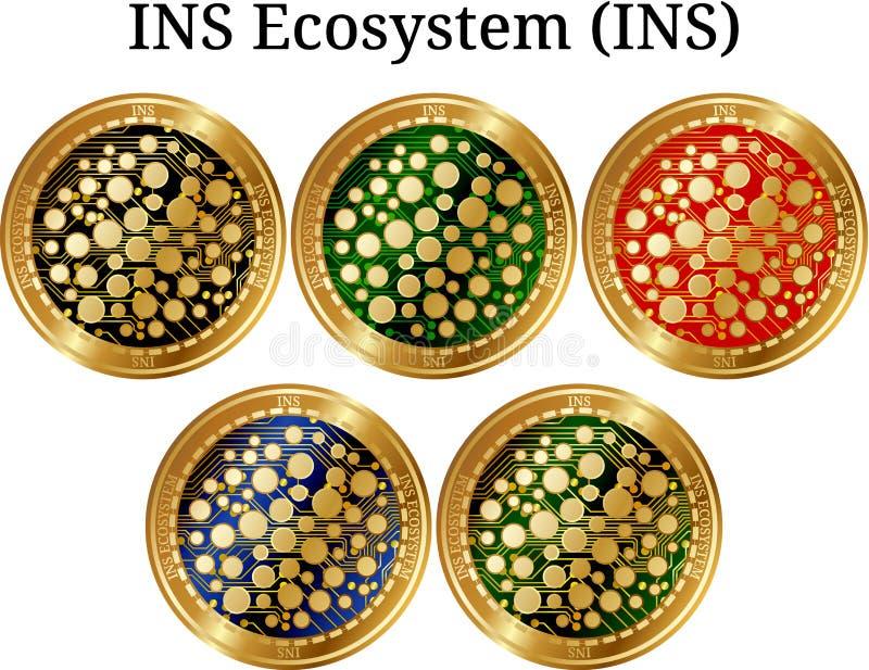 套物理金黄硬币INS生态系INS,数字式cryptocurrency INS生态系INS象集合 皇族释放例证