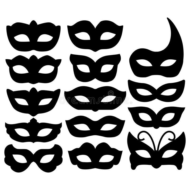 套狂欢节在白色隔绝的面具剪影 汇集欢乐面具象标志 化妆舞会的装饰,党和 向量例证