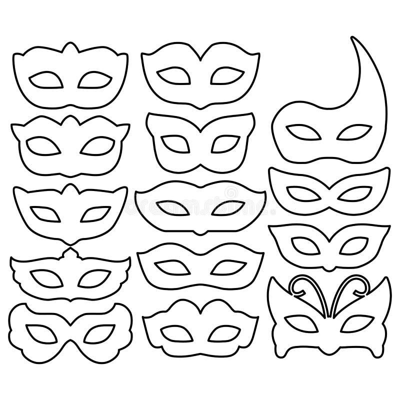 套狂欢节在白色隔绝的面具概述 汇集欢乐面具象标志 化妆舞会、党和VA的装饰 库存例证