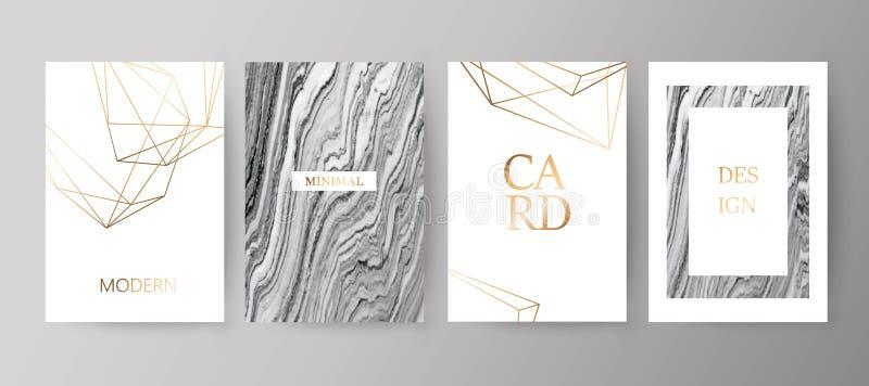 套现代典雅的小册子,卡片,背景,盖子 灰色,黑大理石纹理 向量例证