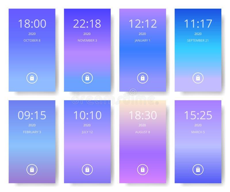套现代用户界面, ux, ui屏幕为巧妙的电话贴墙纸 移动应用 紫外,紫色和 皇族释放例证