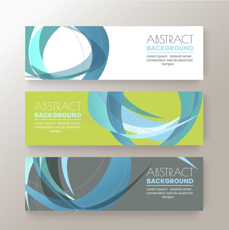 套现代设计横幅模板有抽象五颜六色的圈子形状样式背景 向量例证