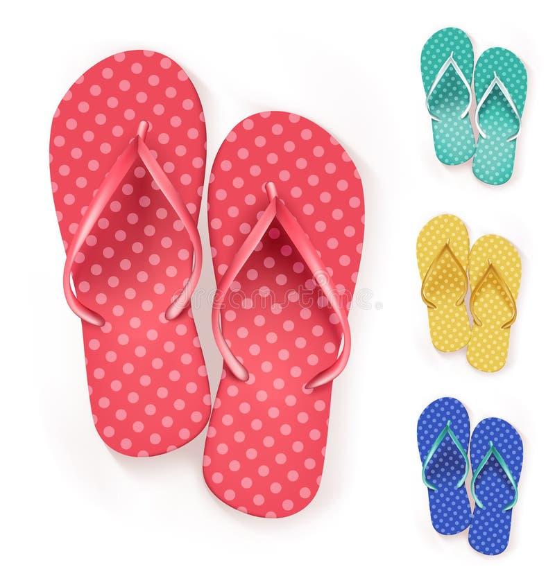 套现实五颜六色的触发器海滩拖鞋 向量例证