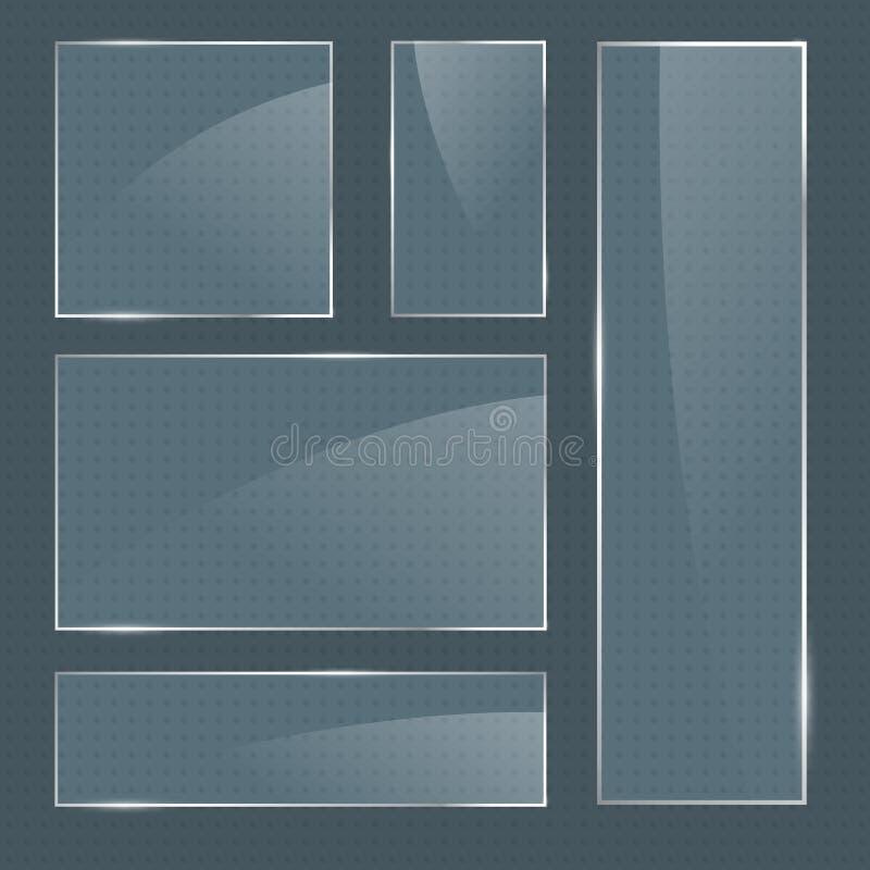 套现实光滑的方形的玻璃框架 皇族释放例证