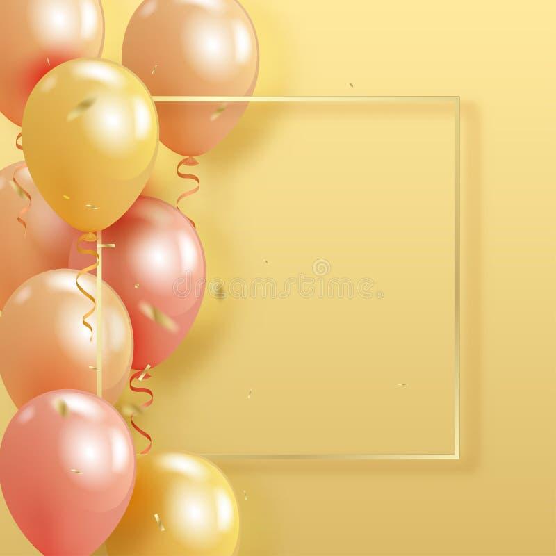 套现实珍珠光滑的氦气迅速增加漂浮在黄色 向量例证