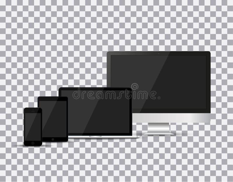 套现实电视, lcd,带领了,计算机显示器、膝上型计算机、片剂和手机有空的白色屏幕的 各种各样的现代electroni 向量例证