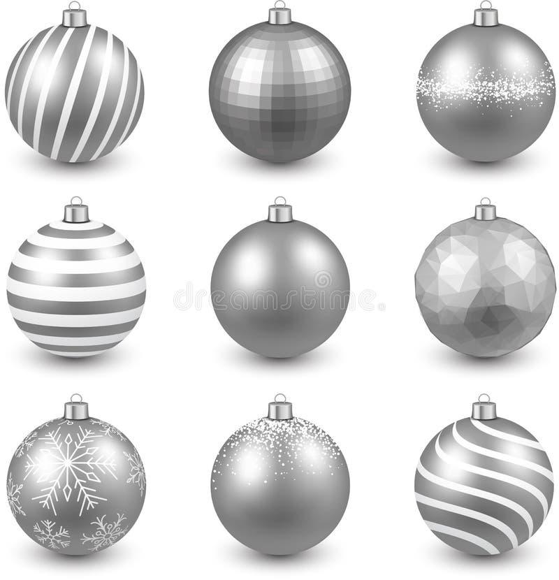 Download 套现实银色圣诞节球 向量例证. 插画 包括有 玻璃, 三角, 波浪, 颜色, 装饰, 可实现, 快活, 五颜六色 - 62539063
