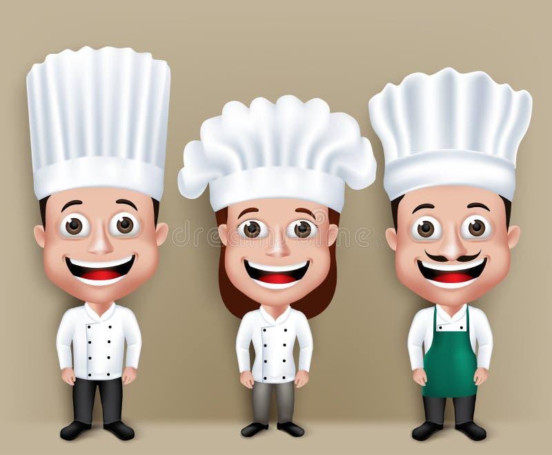 套现实3D厨师男人和妇女字符 皇族释放例证