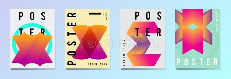 套现代海报,飞行物,在五颜六色的几何样式的小册子与抽象元素 模板设计版面 库存例证