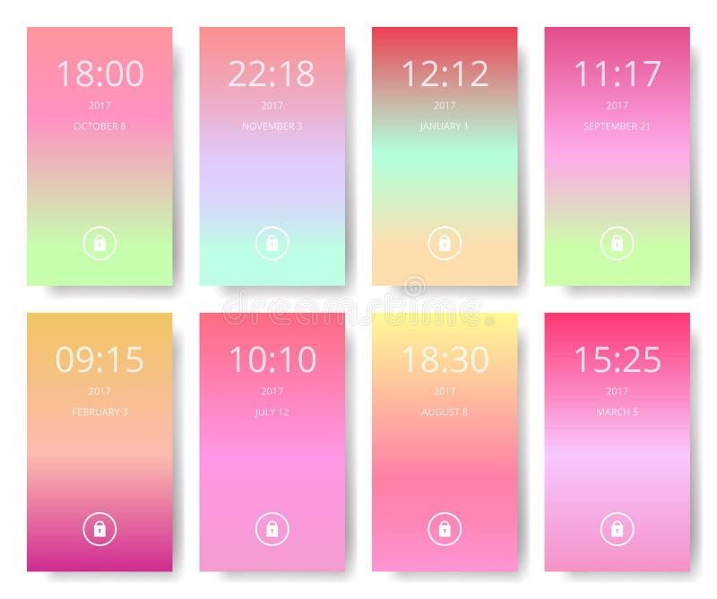 套现代用户界面, ux, ui屏幕为巧妙的电话贴墙纸 流动应用,流动墙纸,传染媒介例证 库存例证