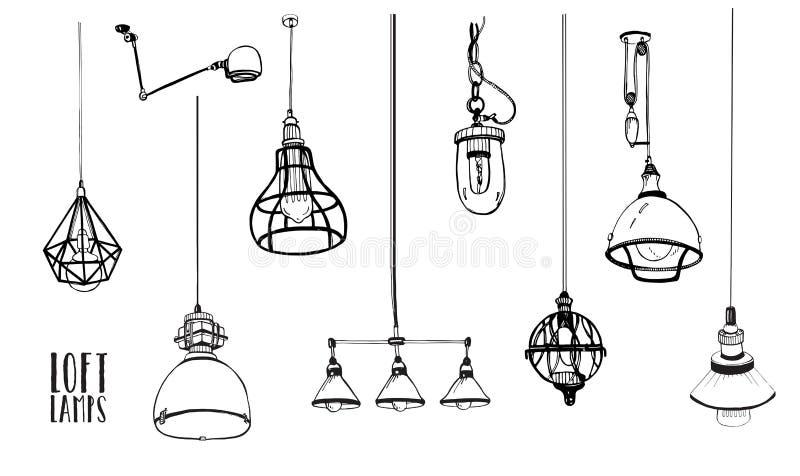 套现代被隔绝的爱迪生顶楼灯,葡萄酒,减速火箭的样式电灯泡 手拉的传染媒介收藏 库存例证