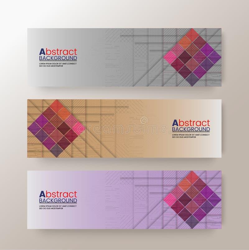 套现代设计横幅模板有抽象方形的样式背景 向量例证