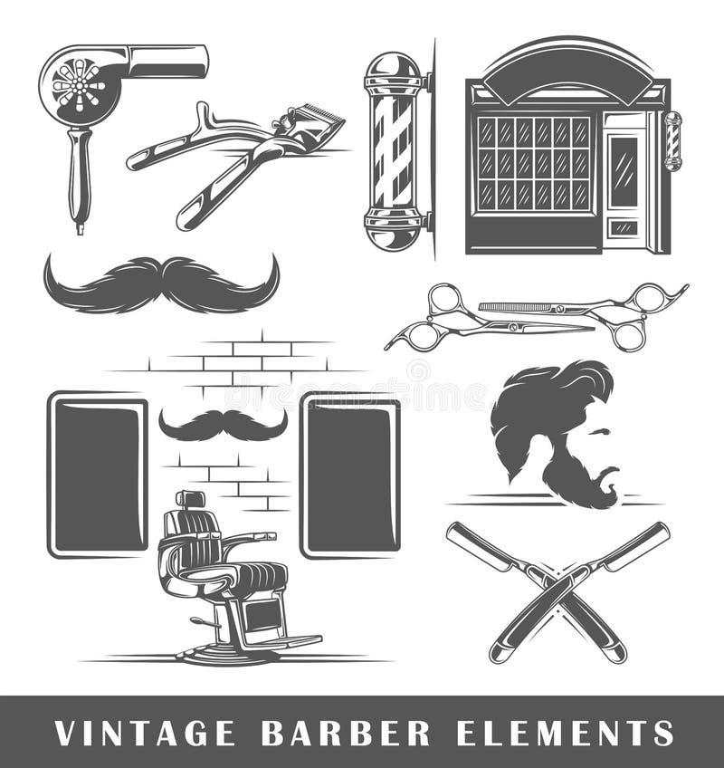 套理发店的元素 向量例证