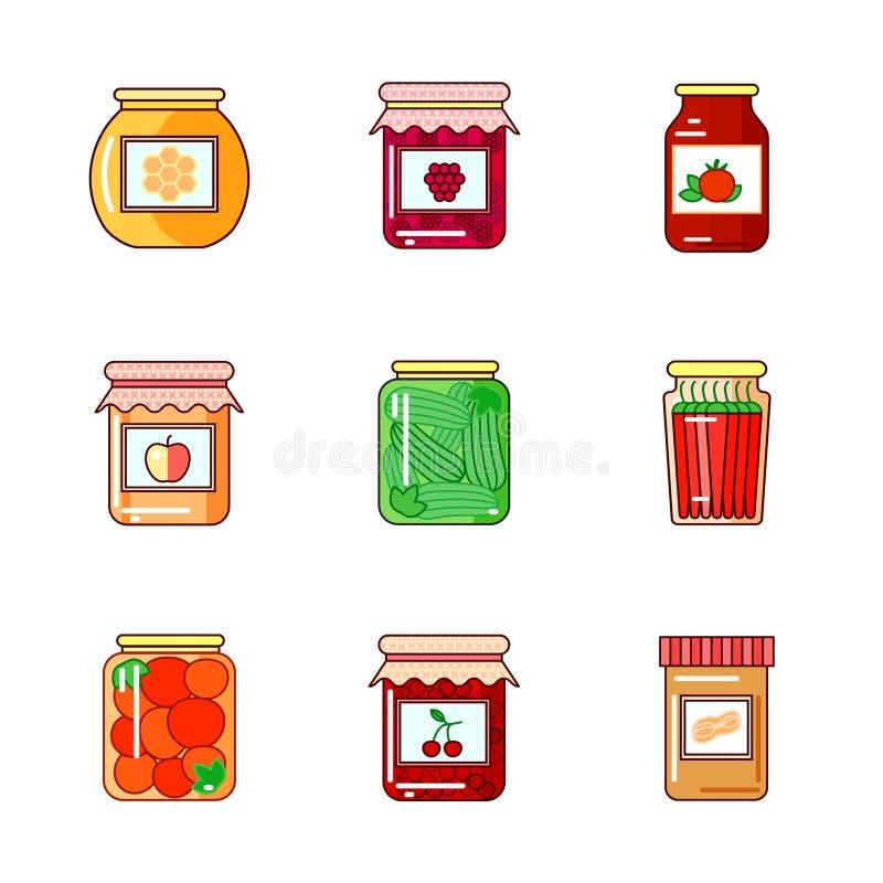 套瓶子用蜂蜜、果酱和菜 向量例证