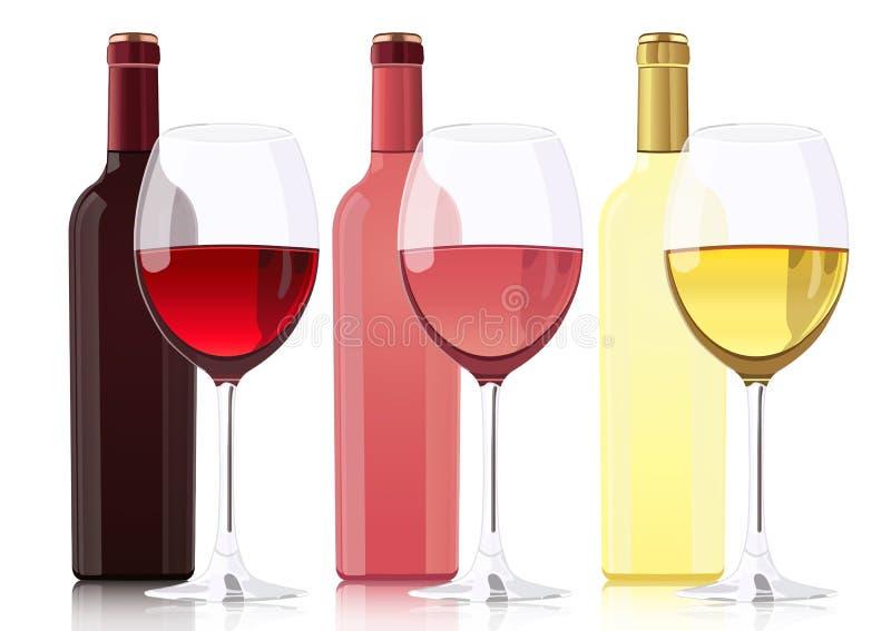 套瓶酒的不同的类型 瓶红葡萄酒,瓶玫瑰酒红色,瓶白葡萄酒和玻璃 皇族释放例证
