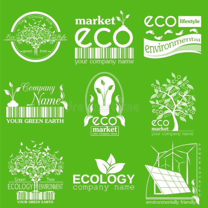 套生态,环境和回收商标 传染媒介商标tem 向量例证