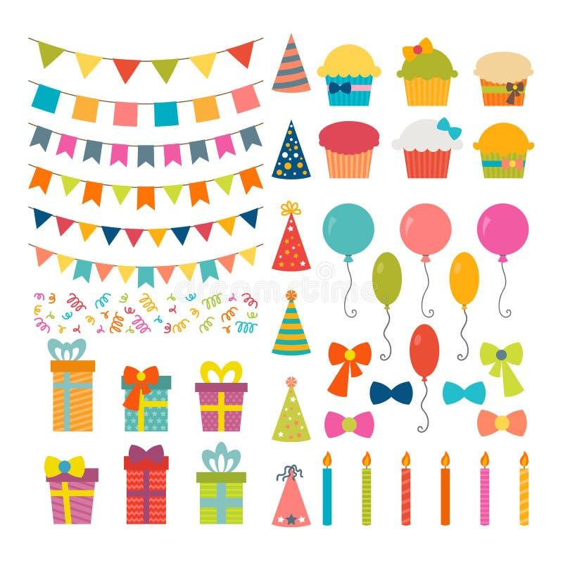 套生日聚会设计元素 五颜六色的气球,旗子, 皇族释放例证