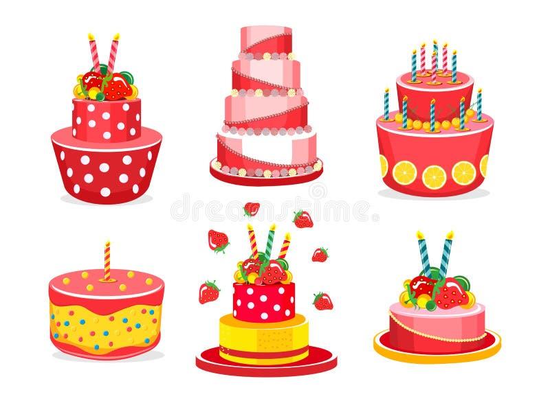 套生日蛋糕 向量例证