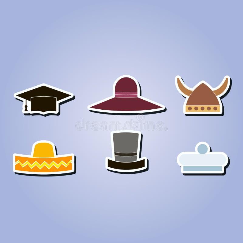 套用不同的帽子的单色象 皇族释放例证