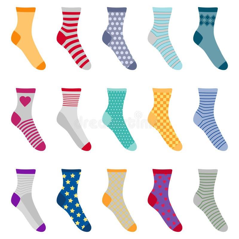 套用不同的样式的五颜六色的袜子,传染媒介illustrati 向量例证