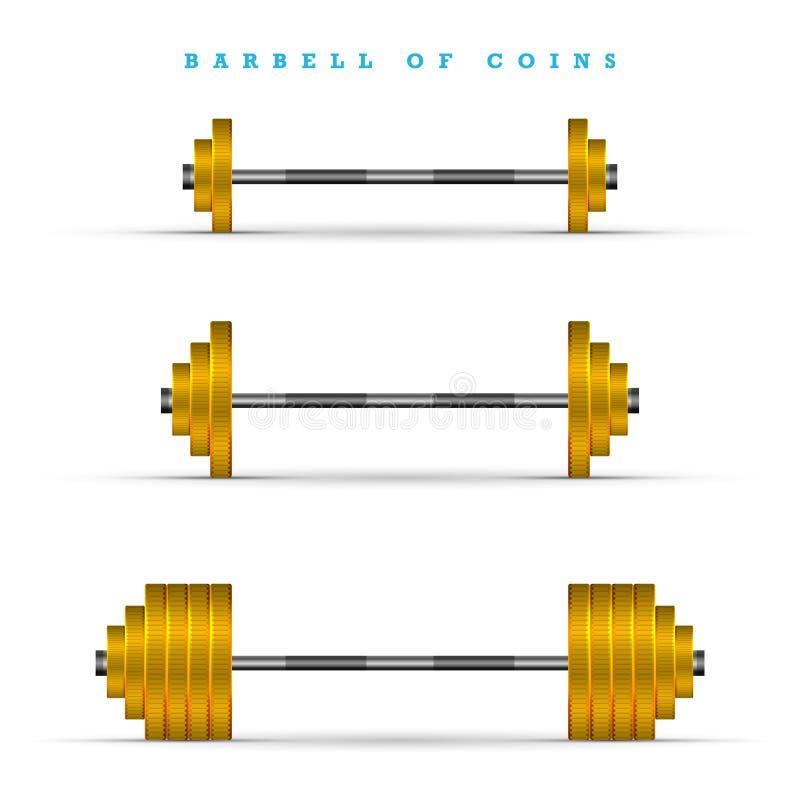 套用不同的重量的杠铃 金黄硬币酒吧 向量例证