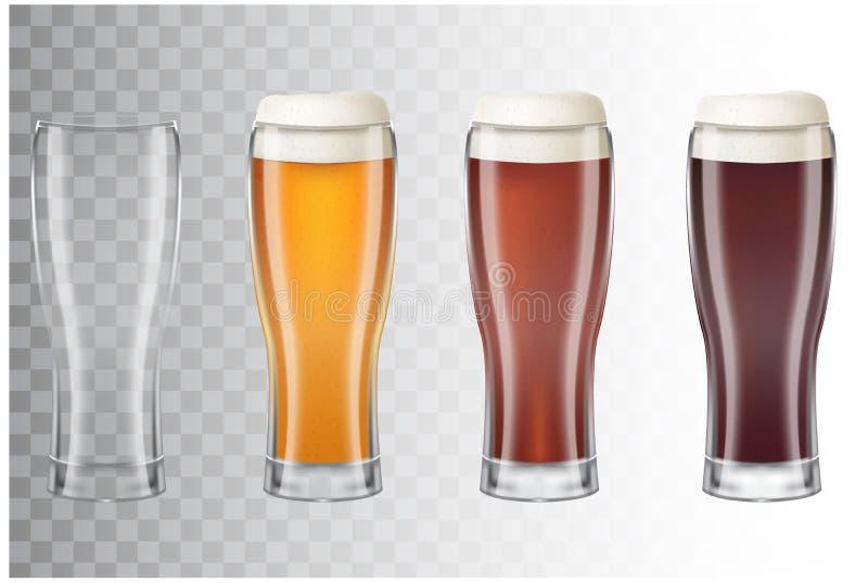 套用啤酒的不同的主要类型的现实高啤酒杯 经典低度黄啤酒,黑暗,红色和空的玻璃 皇族释放例证