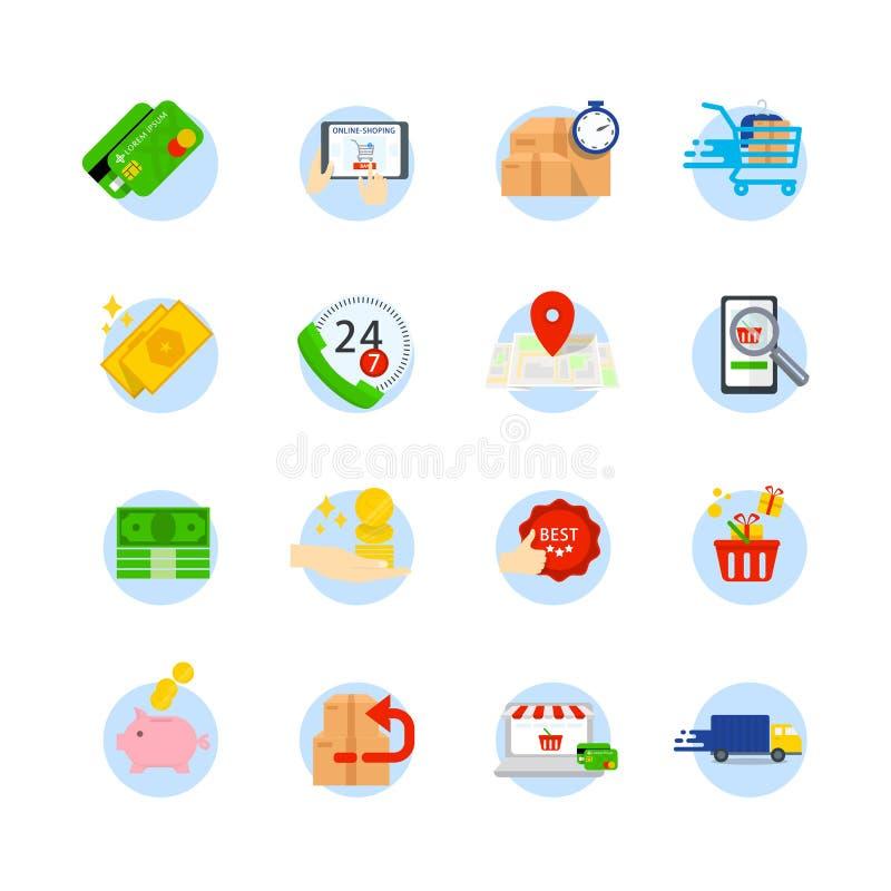 套电子商务传染媒介平的象 作为商店,购物袋,销售,钱包,篮子,回归,网上支持的象,快速 皇族释放例证