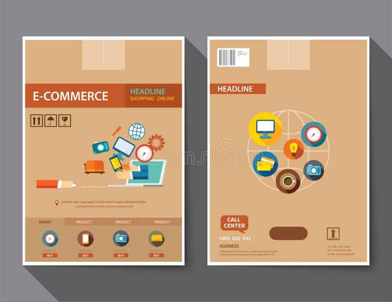 套电子商务杂志封面,飞行物,小册子平的设计t 向量例证