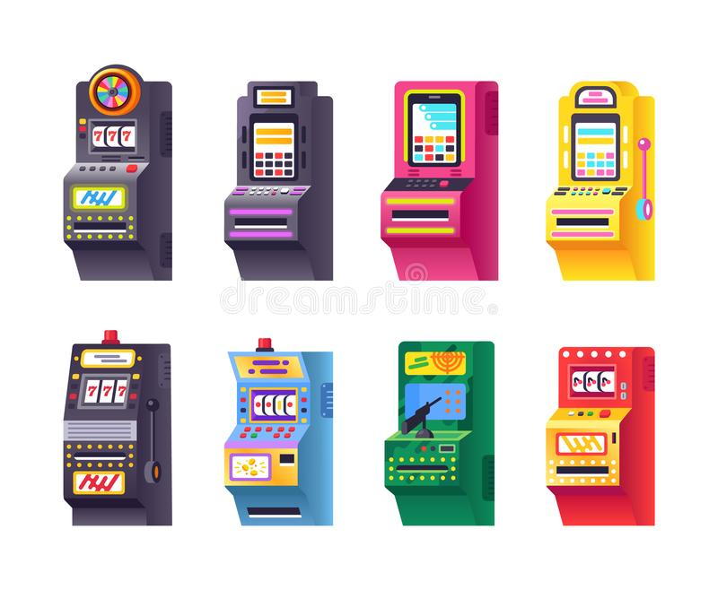 套电子真正老虎机,自动的比赛,轮盘赌,赌博娱乐场 库存例证