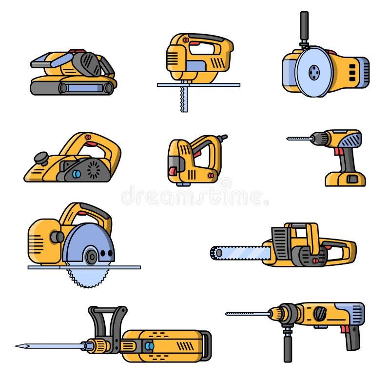 套电建筑工具 平的样式专业建造者工具 向量例证