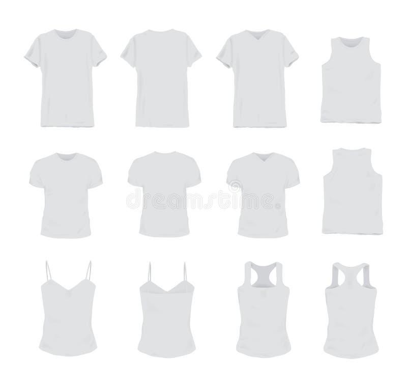 套男人和妇女的另外现实白色T恤杉 前面和后面看法 无袖的衬衣,短袖子,汗衫 向量例证