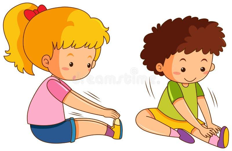套男孩和女孩舒展 向量例证