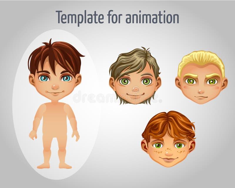 套男孩的四个图象动画的 皇族释放例证