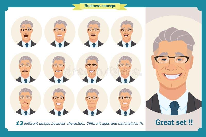 套男性面部情感 一个人的面孔表示 在衣服和领带的商人 在白色的被隔绝的传染媒介 向量例证