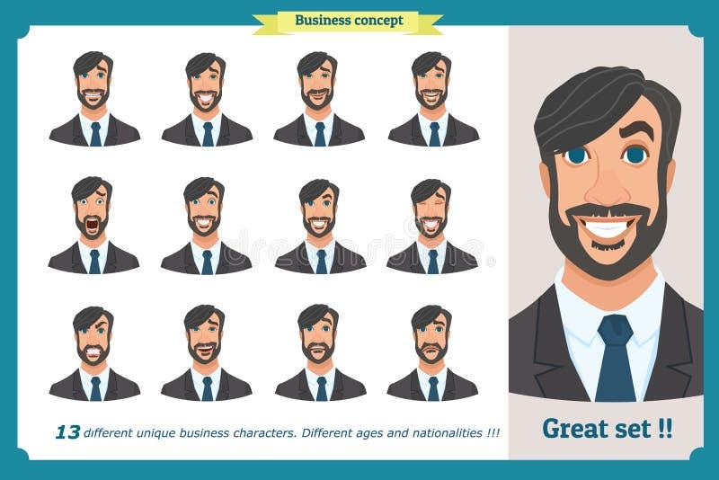 套男性面部情感 一个人的面孔表示 平的漫画人物 businessman isolated suit white 在白色的被隔绝的传染媒介 皇族释放例证