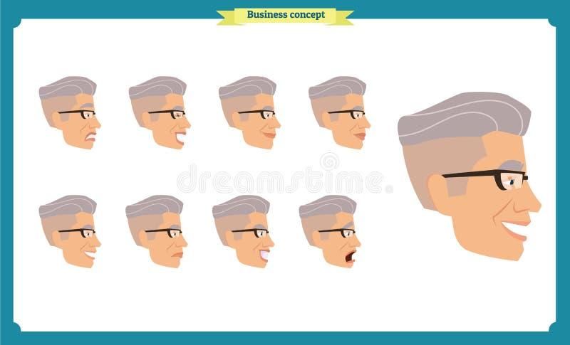 套男性面部情感  也corel凹道例证向量 向量例证